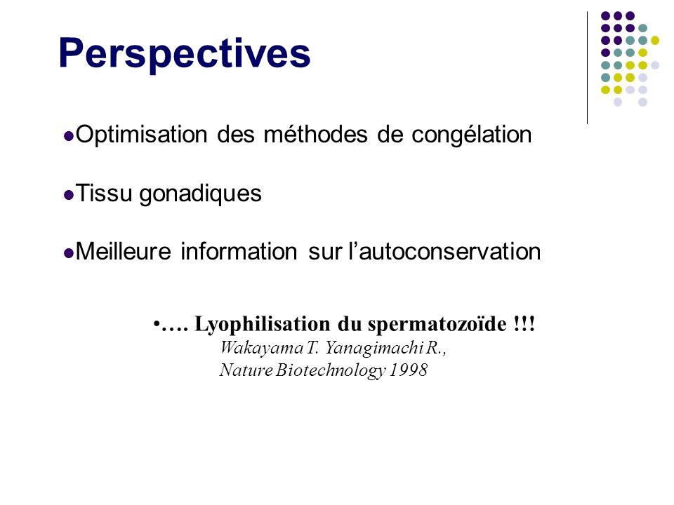 Perspectives Optimisation des méthodes de congélation Tissu gonadiques