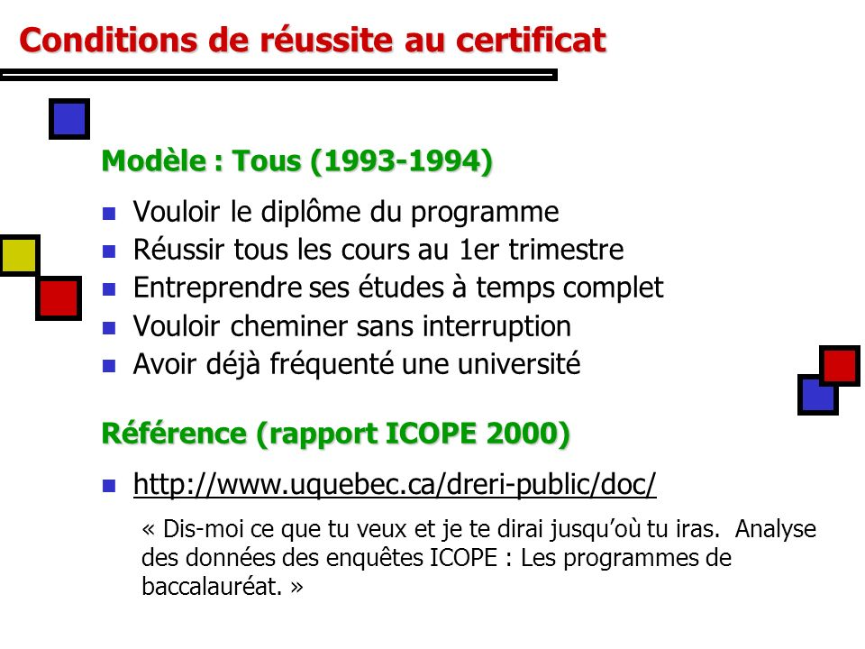 Conditions de réussite au certificat