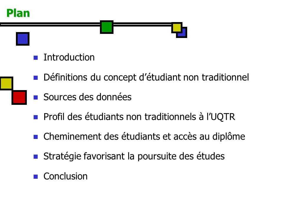 Plan Introduction Définitions du concept d'étudiant non traditionnel