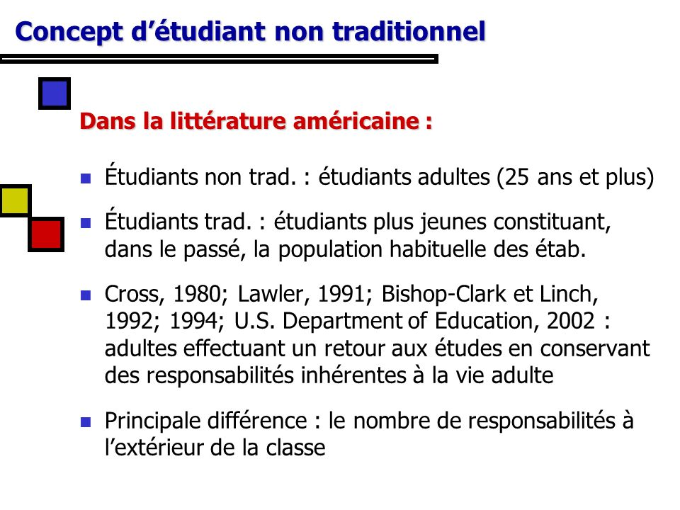 Concept d'étudiant non traditionnel