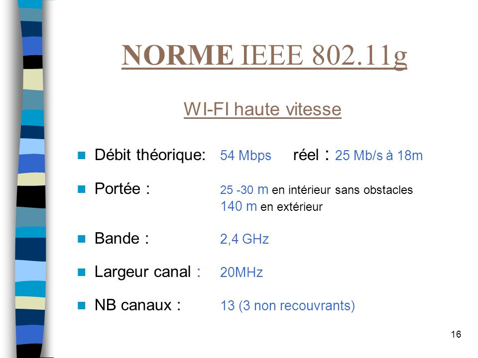 NORME IEEE 802.11g WI-FI haute vitesse