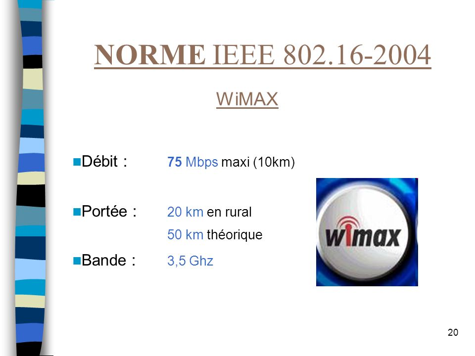 NORME IEEE 802.16-2004 WiMAX Débit : 75 Mbps maxi (10km)