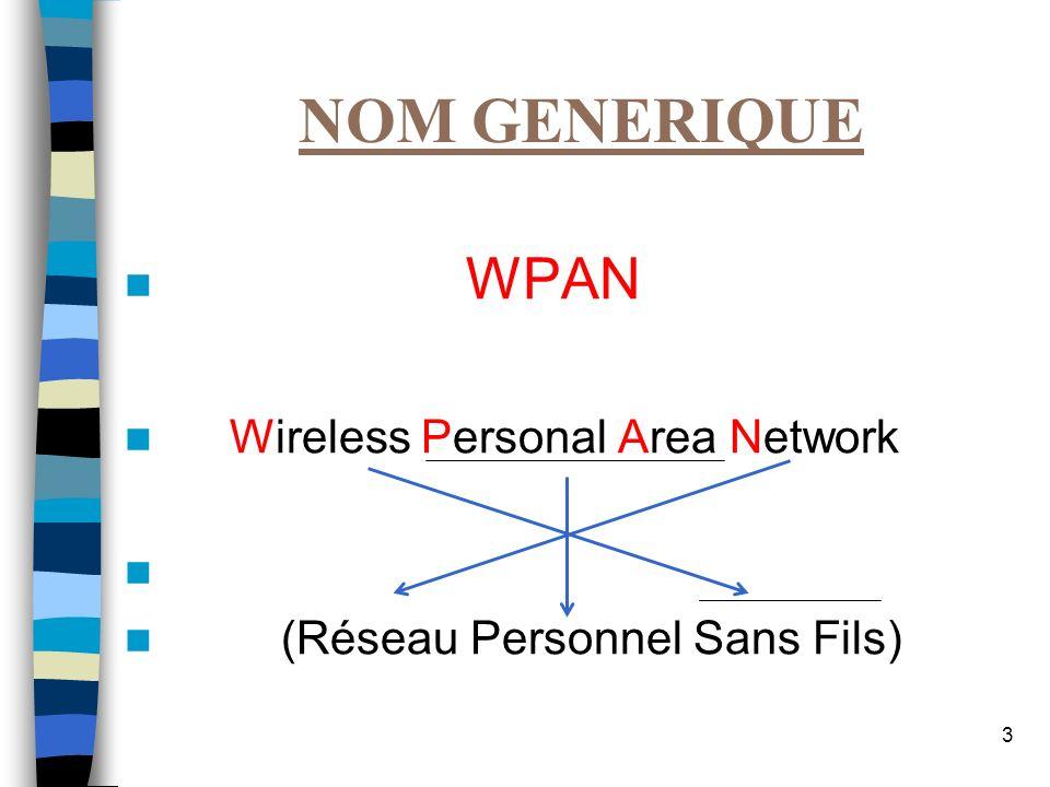 NOM GENERIQUE WPAN Wireless Personal Area Network