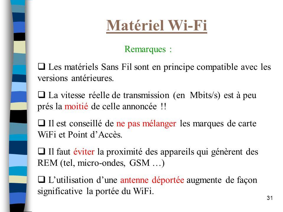 Matériel Wi-Fi Remarques :