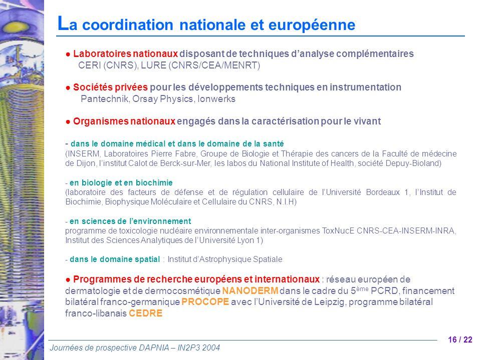 La coordination nationale et européenne