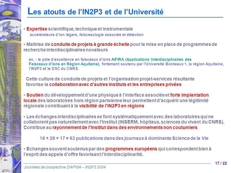 Les atouts de l'IN2P3 et de l'Université