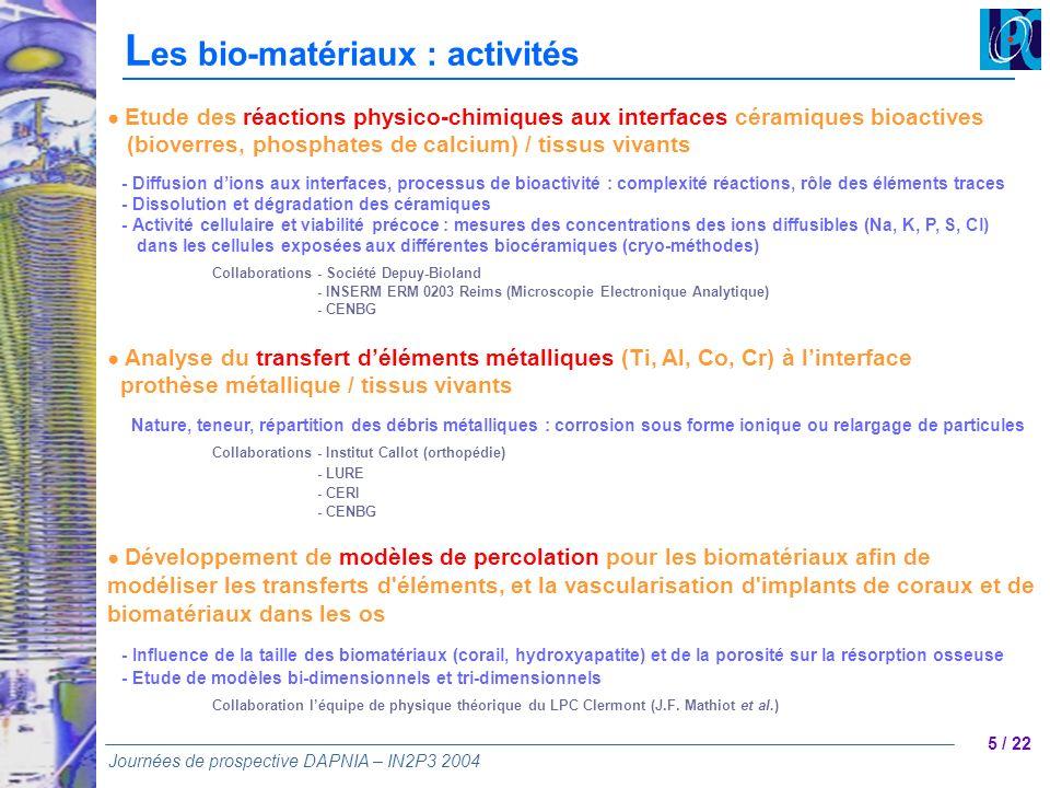 Les bio-matériaux : activités