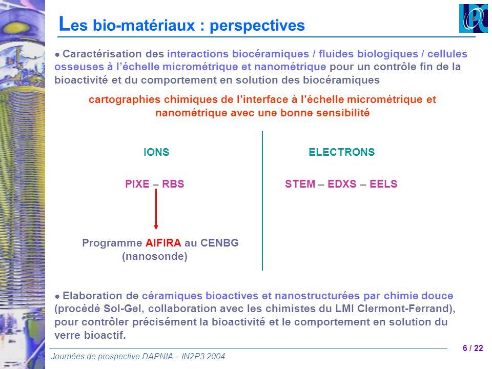 Les bio-matériaux : perspectives