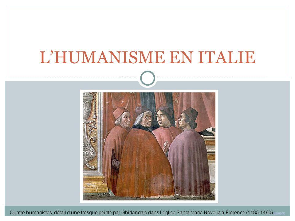 L'HUMANISME EN ITALIE Quatre humanistes, détail d'une fresque peinte par Ghirlandaio dans l'église Santa Maria Novella à Florence (1485-1490) Source.