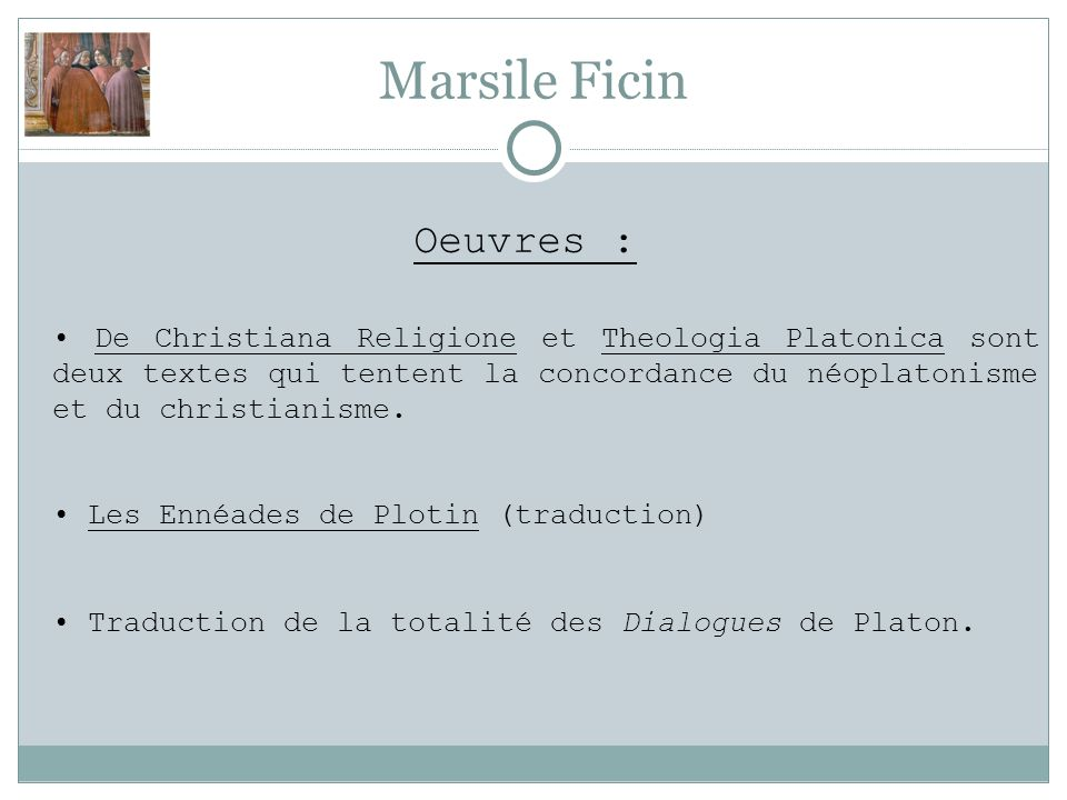 Marsile Ficin Oeuvres :