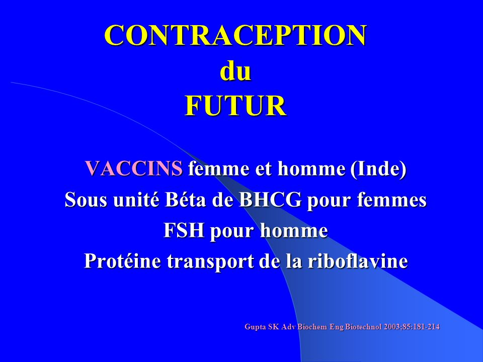 CONTRACEPTION du FUTUR
