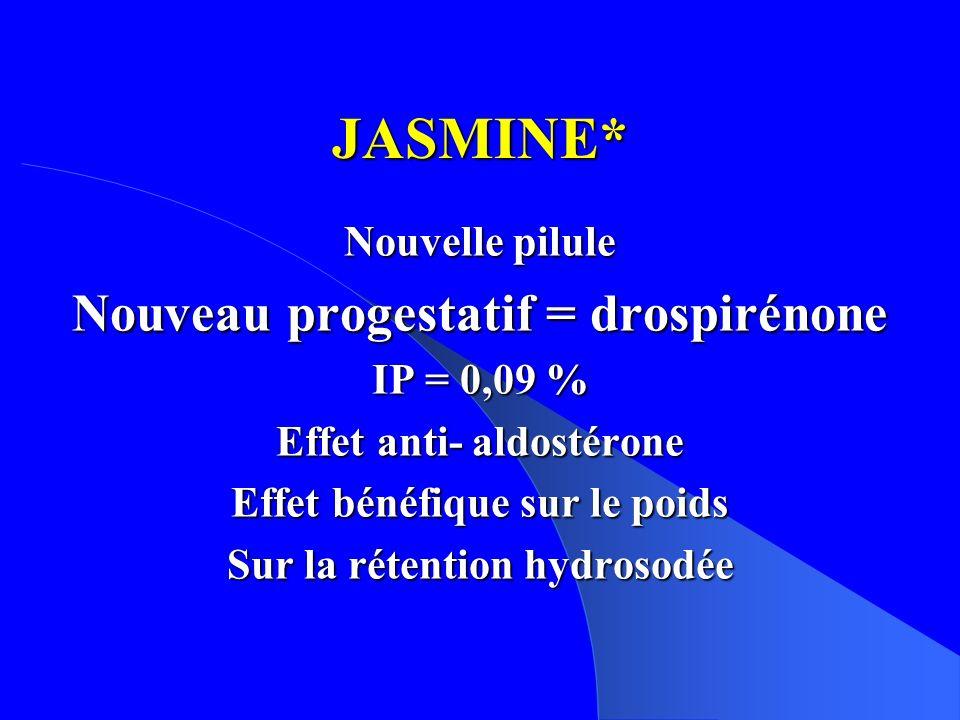 JASMINE* Nouveau progestatif = drospirénone Nouvelle pilule