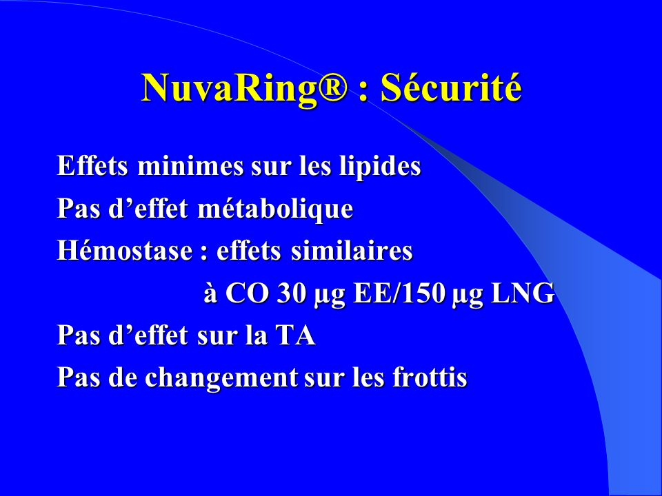 NuvaRing® : Sécurité Effets minimes sur les lipides