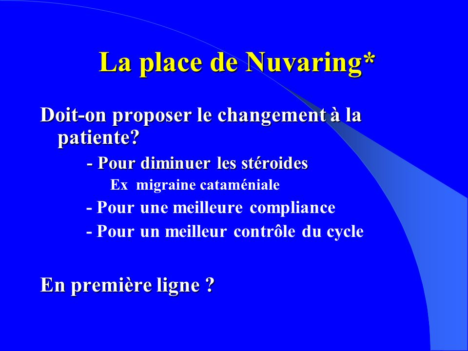 La place de Nuvaring* Doit-on proposer le changement à la patiente