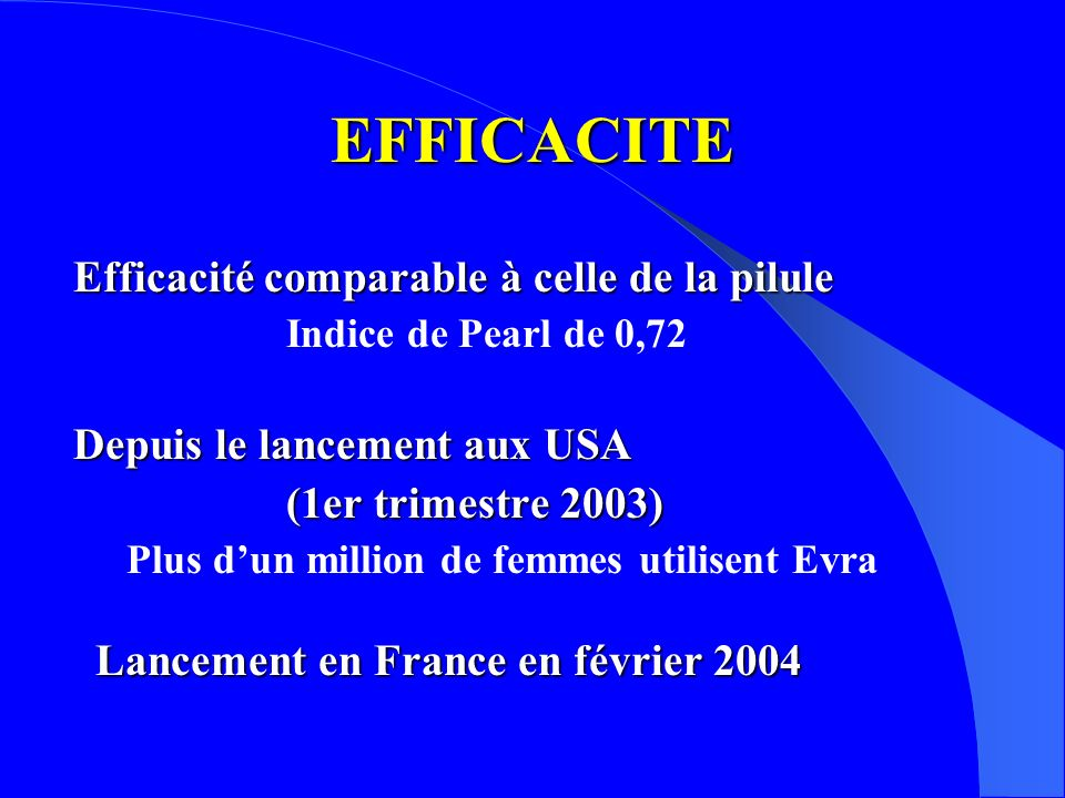 EFFICACITE Efficacité comparable à celle de la pilule