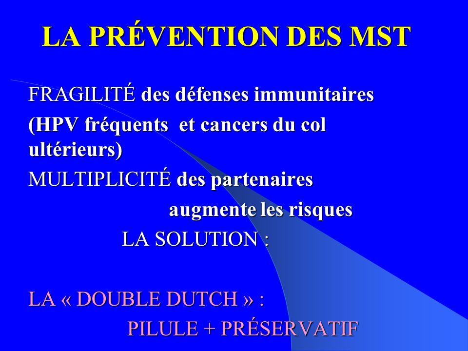 LA PRÉVENTION DES MST FRAGILITÉ des défenses immunitaires