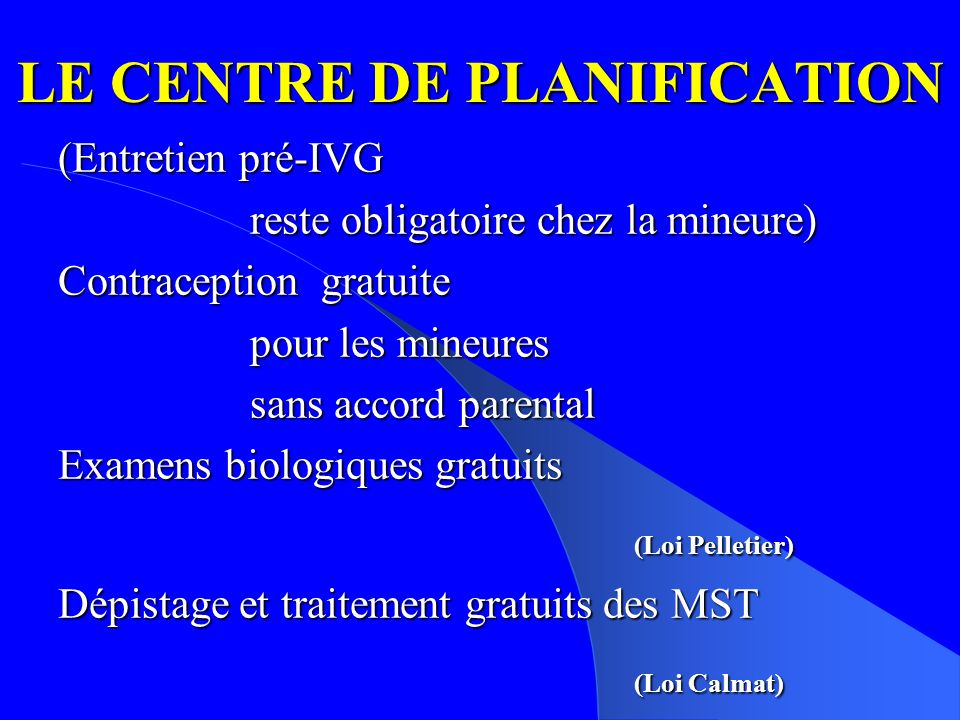 LE CENTRE DE PLANIFICATION