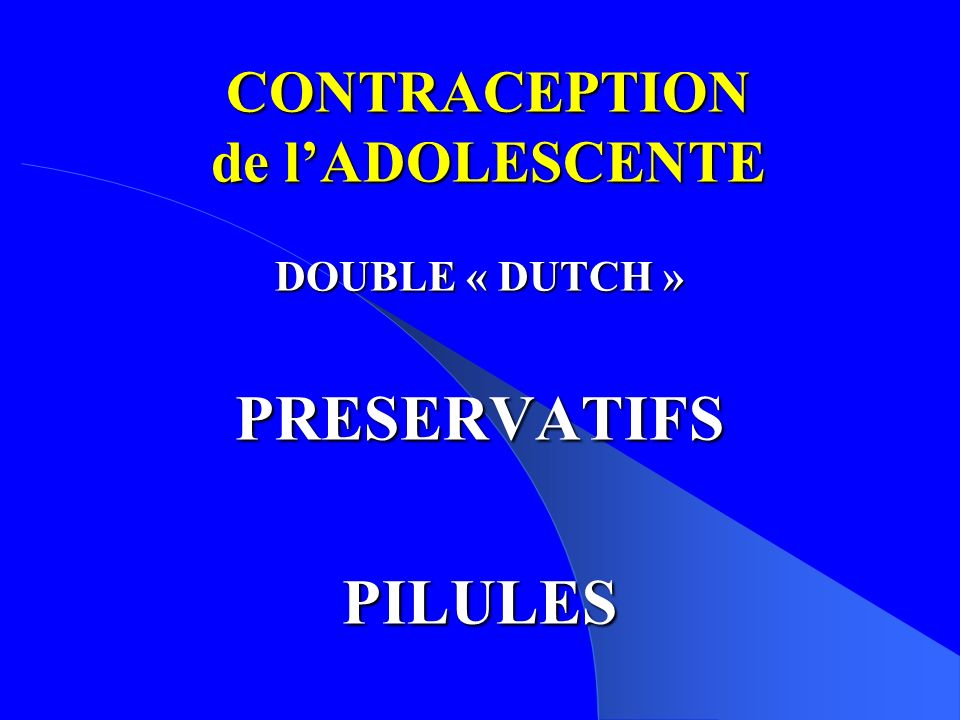 CONTRACEPTION de l'ADOLESCENTE