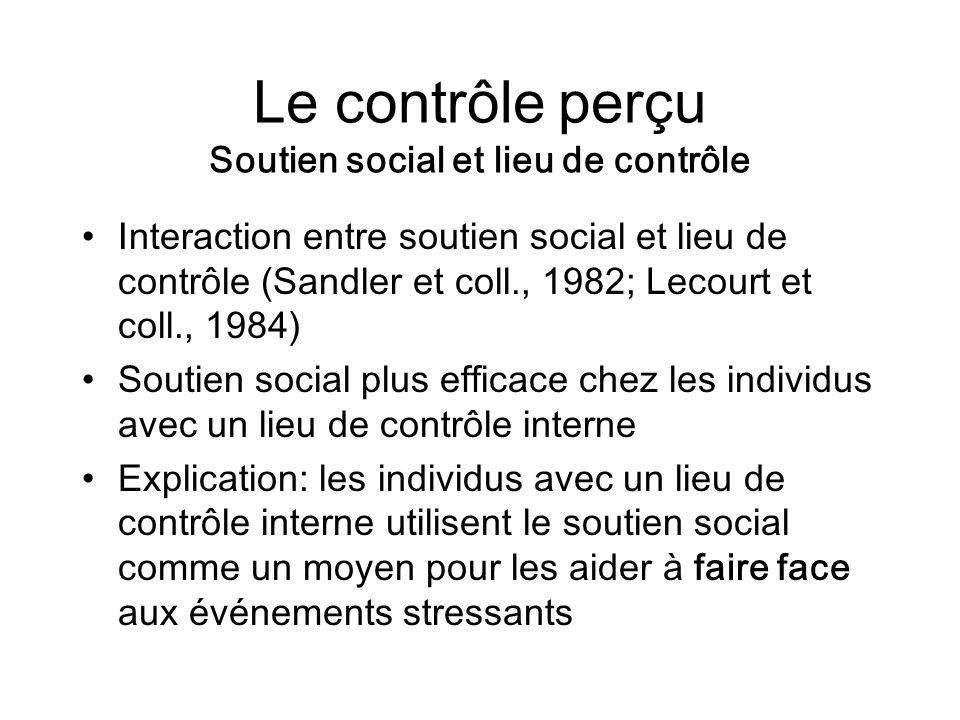 Le contrôle perçu Soutien social et lieu de contrôle