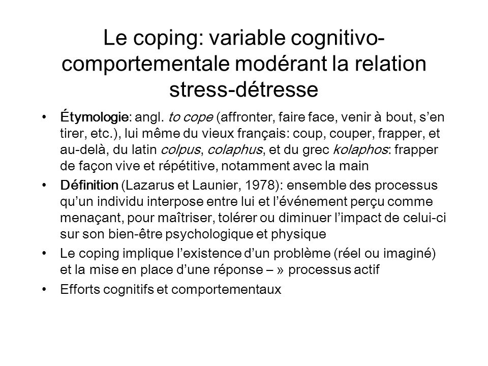 Le coping: variable cognitivo-comportementale modérant la relation stress-détresse