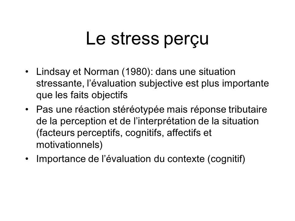 Le stress perçu Lindsay et Norman (1980): dans une situation stressante, l'évaluation subjective est plus importante que les faits objectifs.