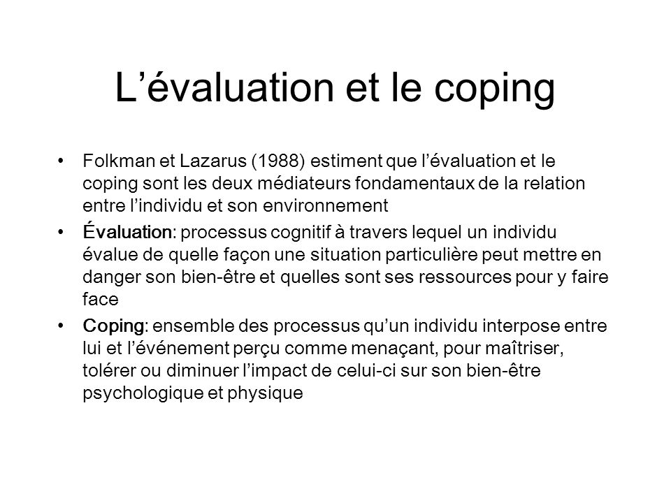 L'évaluation et le coping