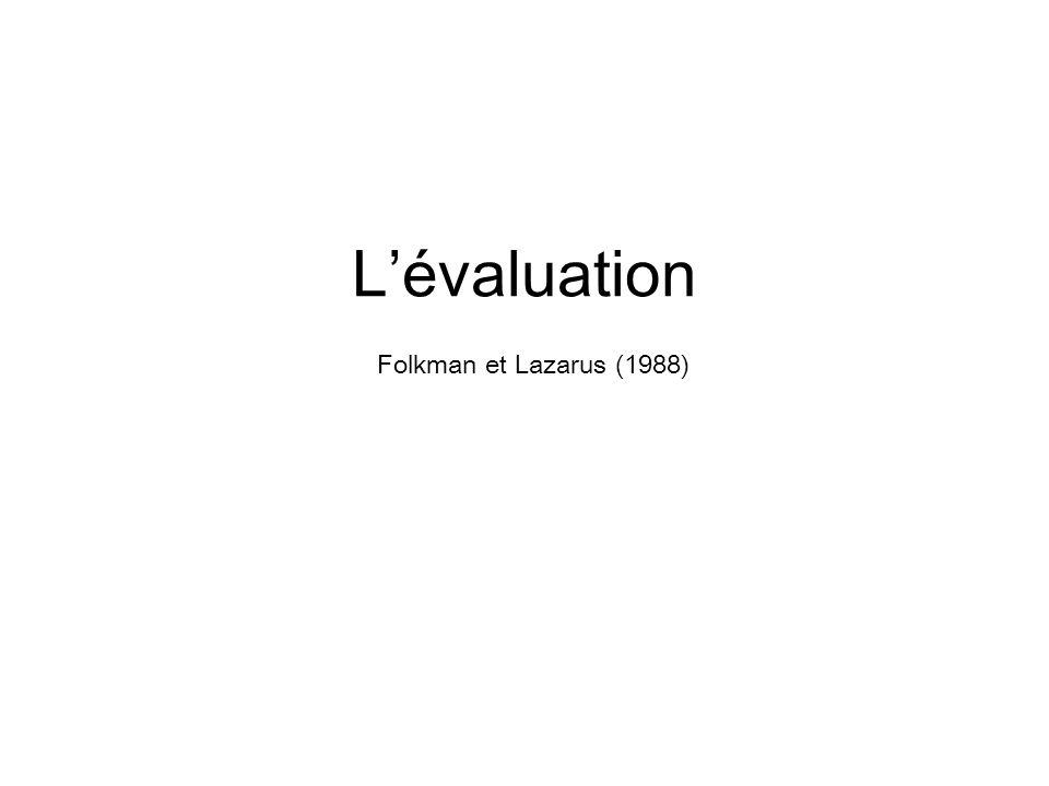 L'évaluation Folkman et Lazarus (1988)