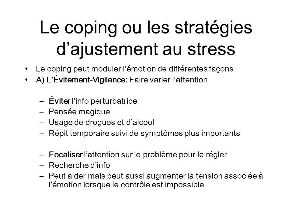 Le coping ou les stratégies d'ajustement au stress