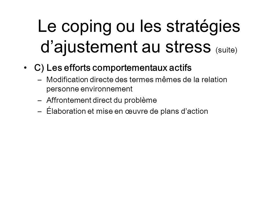 Le coping ou les stratégies d'ajustement au stress (suite)