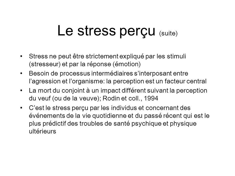 Le stress perçu (suite)