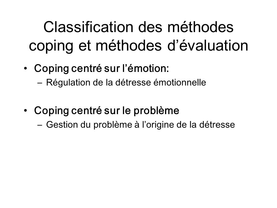 Classification des méthodes coping et méthodes d'évaluation
