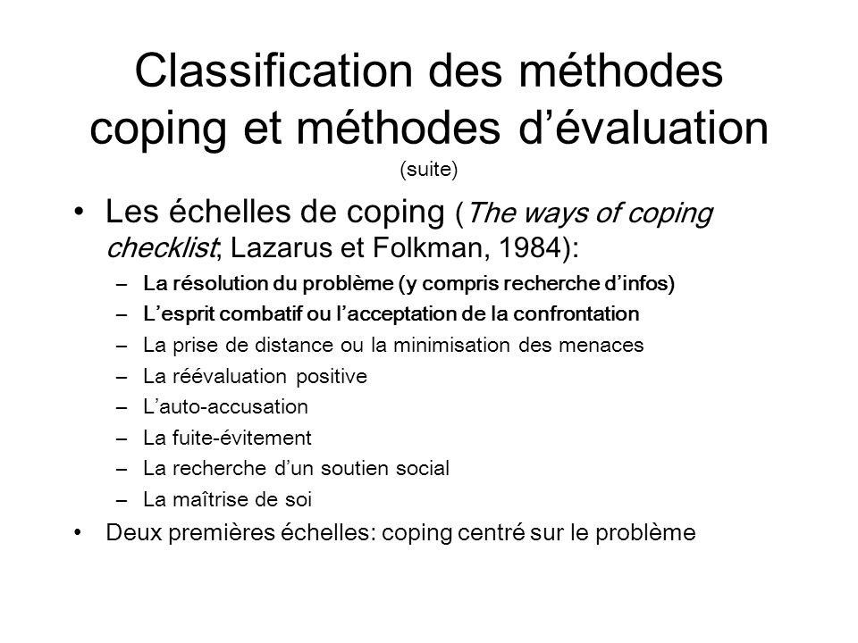 Classification des méthodes coping et méthodes d'évaluation (suite)