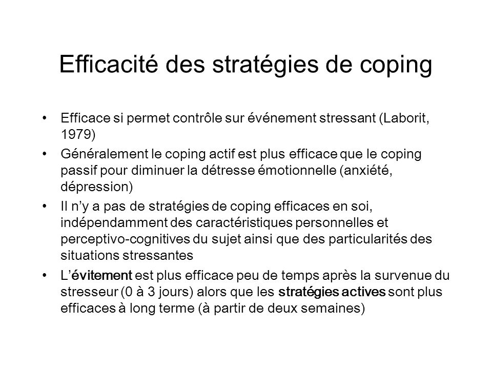 Efficacité des stratégies de coping