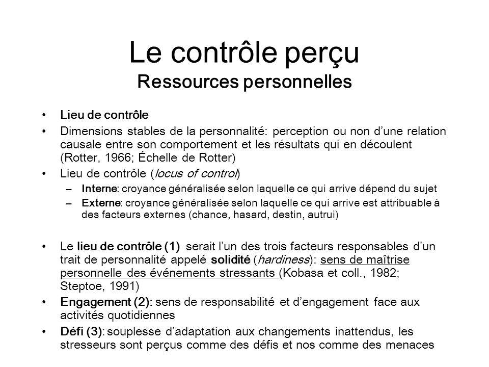 Le contrôle perçu Ressources personnelles