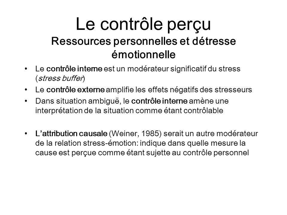 Le contrôle perçu Ressources personnelles et détresse émotionnelle