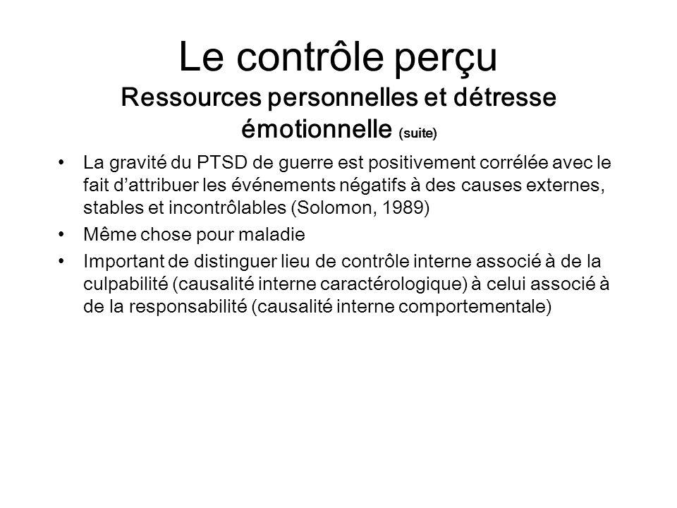 Le contrôle perçu Ressources personnelles et détresse émotionnelle (suite)