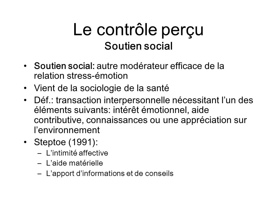 Le contrôle perçu Soutien social
