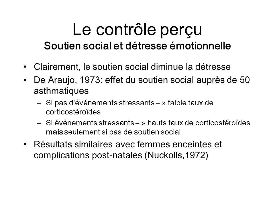 Le contrôle perçu Soutien social et détresse émotionnelle