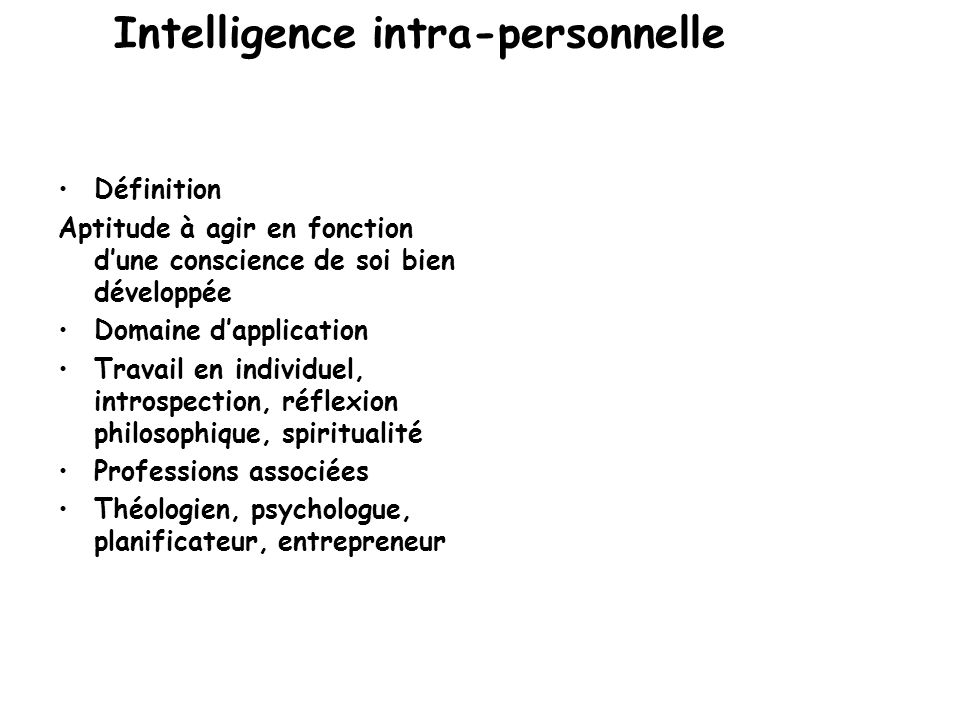 Intelligence intra-personnelle