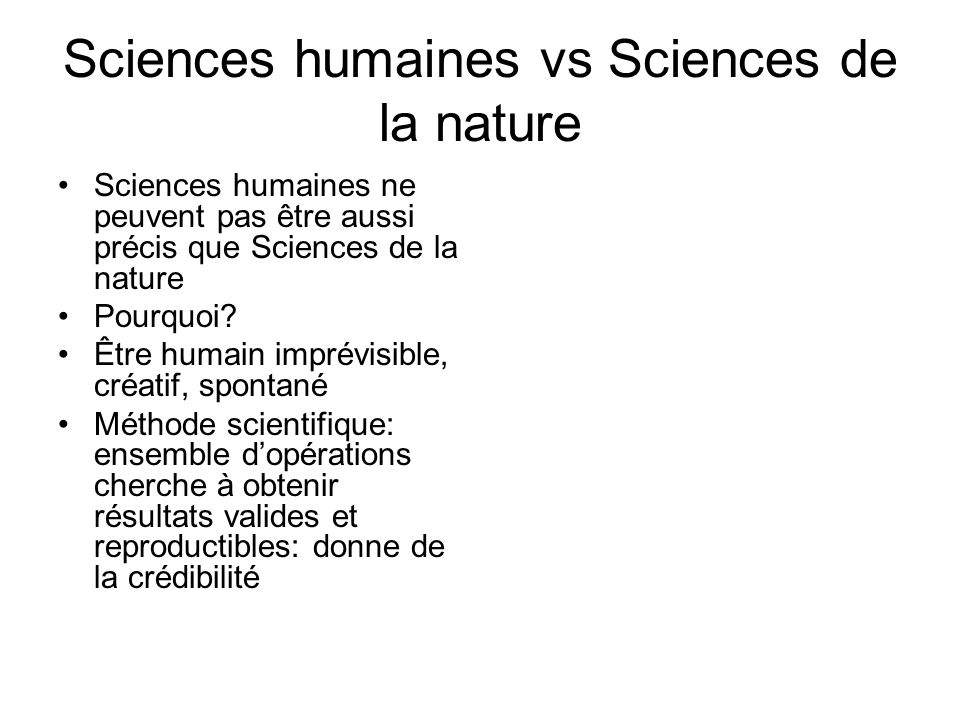 Sciences humaines vs Sciences de la nature