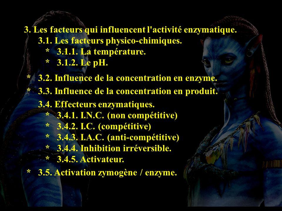 Plan 3 3. Les facteurs qui influencent l activité enzymatique.