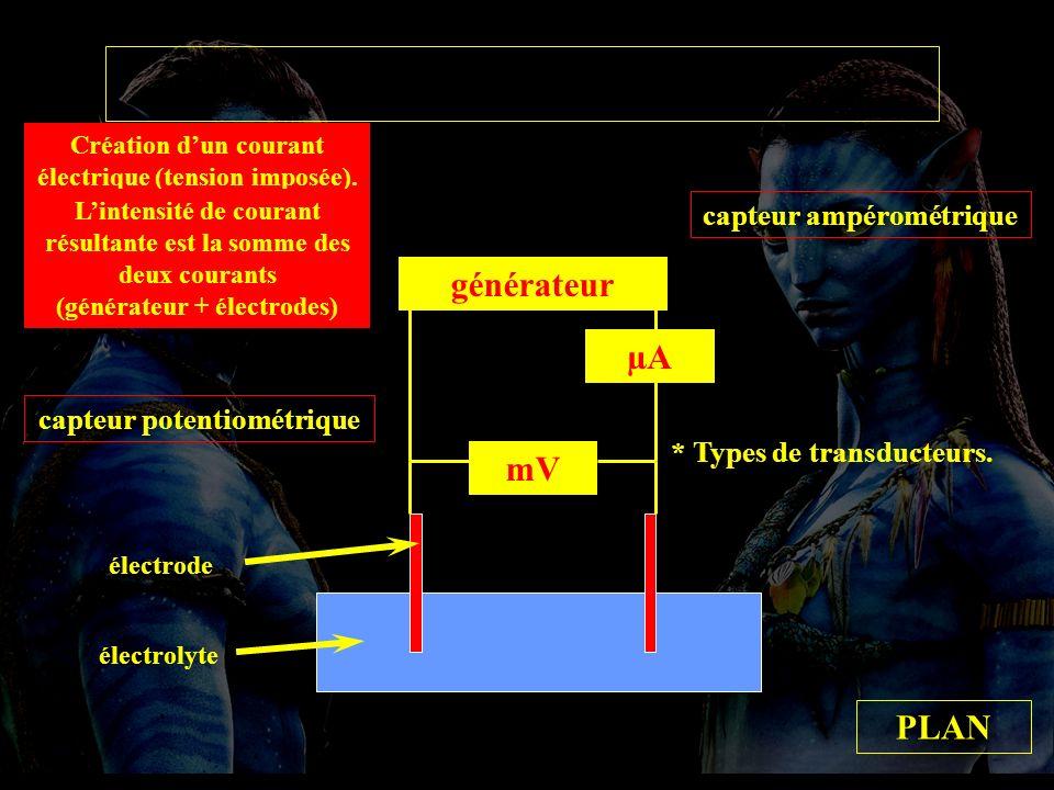 types transducteurs générateur µA mV PLAN capteur ampérométrique