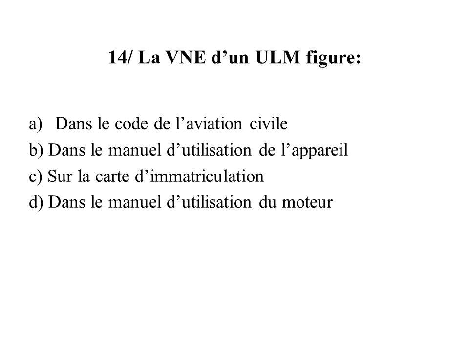 14/ La VNE d'un ULM figure: