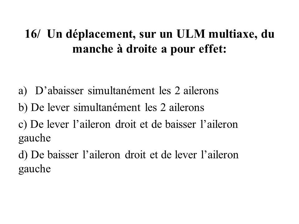 16/ Un déplacement, sur un ULM multiaxe, du manche à droite a pour effet: