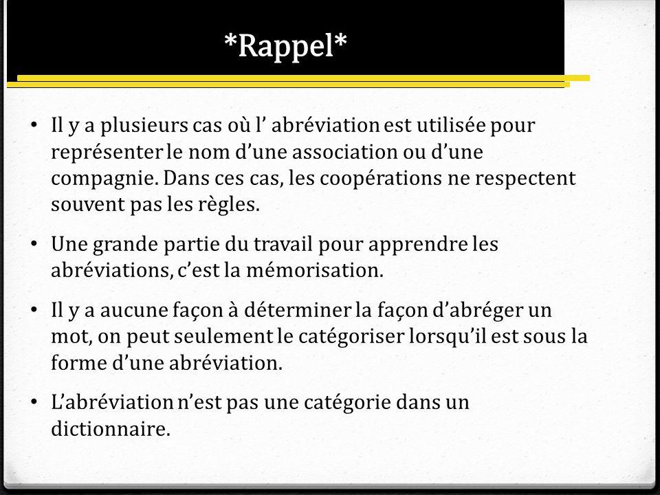 *Rappel*