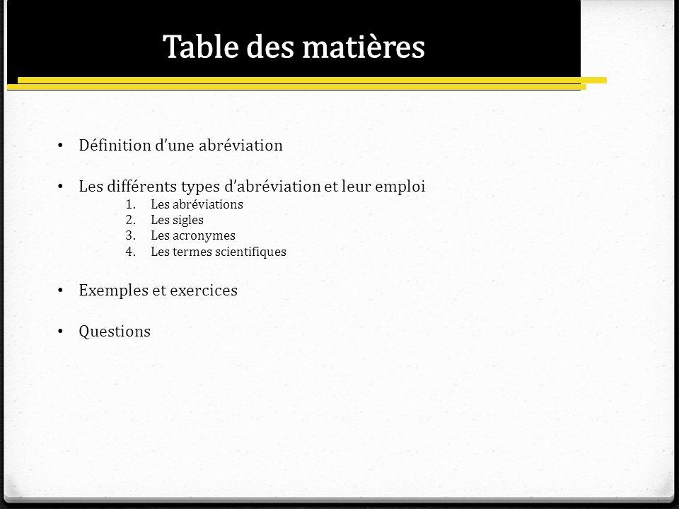 Table des matières Définition d'une abréviation