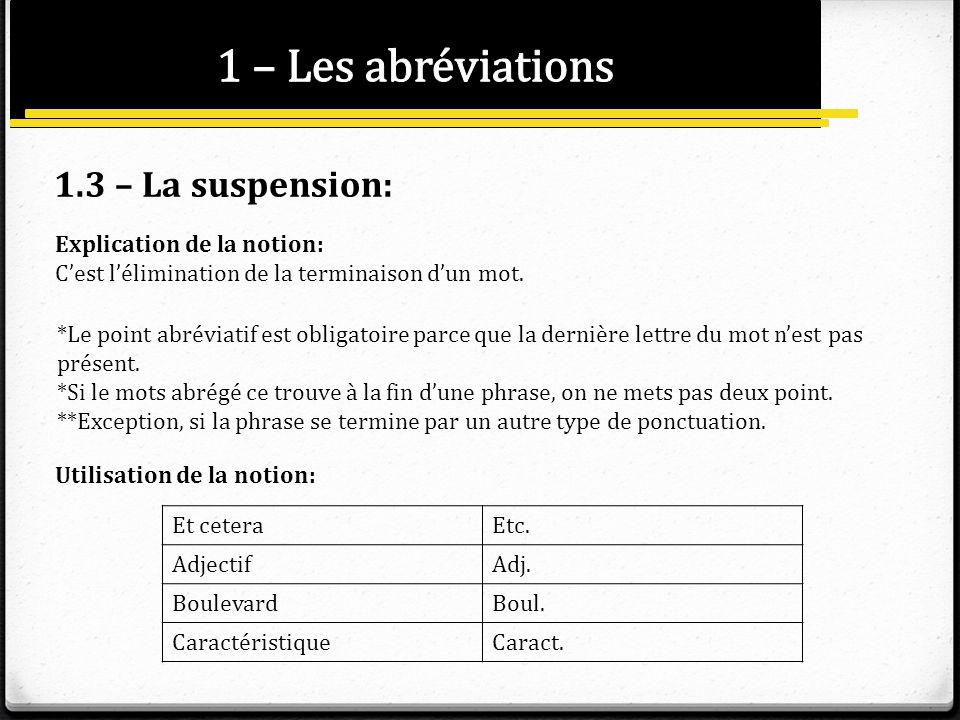 1 – Les abréviations 1.3 – La suspension: Explication de la notion: