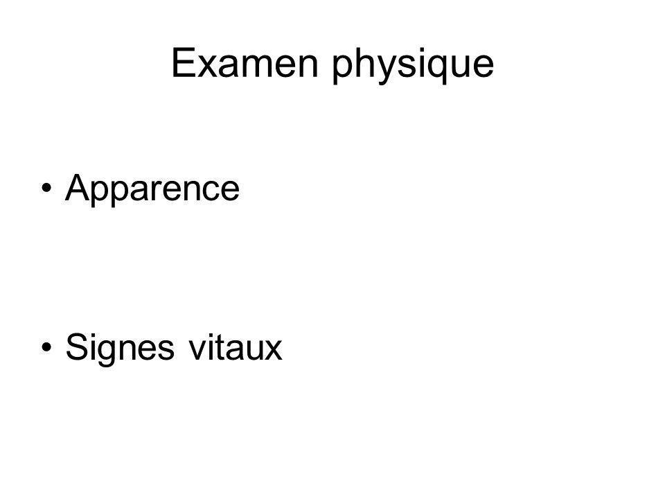 Examen physique Apparence Signes vitaux