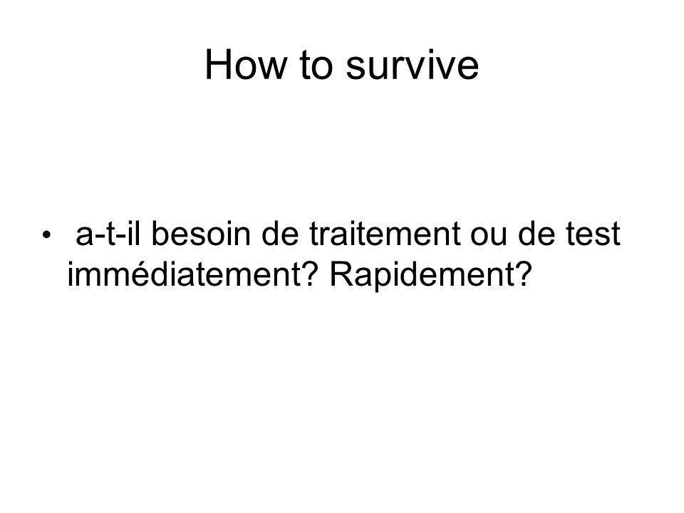 How to survive a-t-il besoin de traitement ou de test immédiatement Rapidement