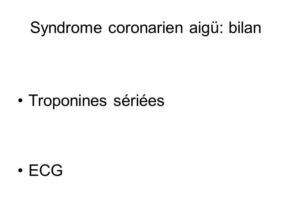 Syndrome coronarien aigü: bilan